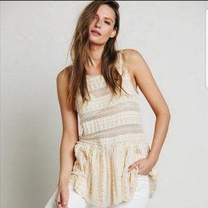 Intimately FP ivory lace peplum top size XS